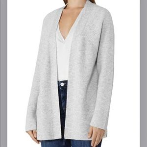 REISS Marley Ribbed Open Cardigan sweater gray xs